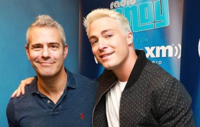 A blond Colton Haynes (right) paid a visit to Andy Cohen's radio show