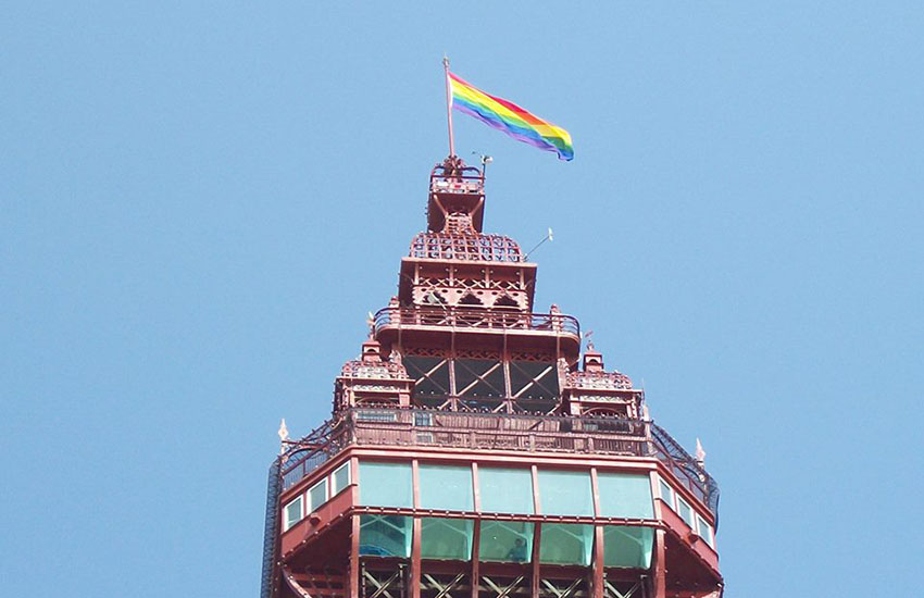Rainbow flag at the top of Blackpool Tower