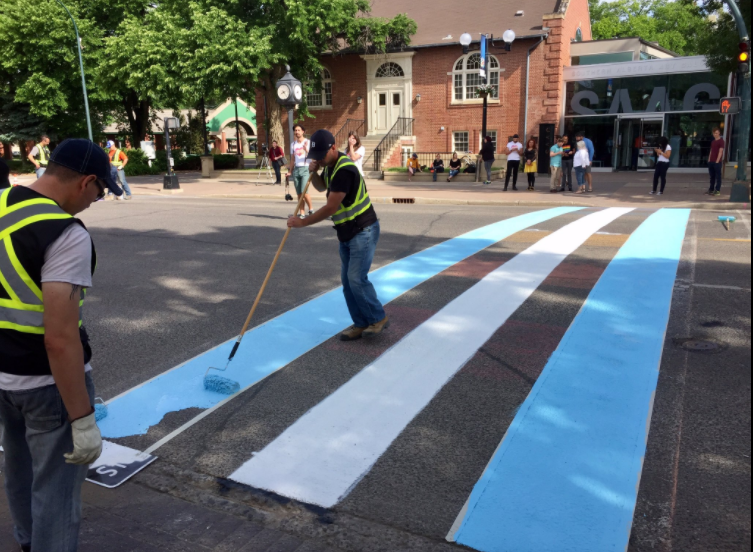 Lethbridge painted a transgender flag crosswalk for Pride