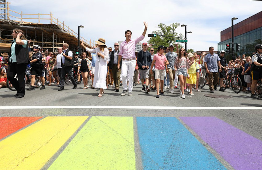Justin Trudeau attends the Halifax Pride March in July 2017