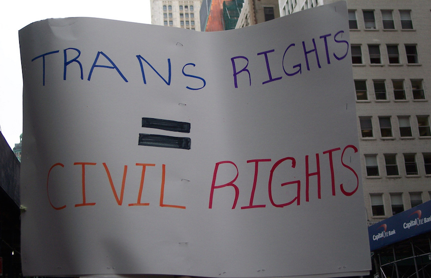 Sign stating: 'trans rights = civil rights'