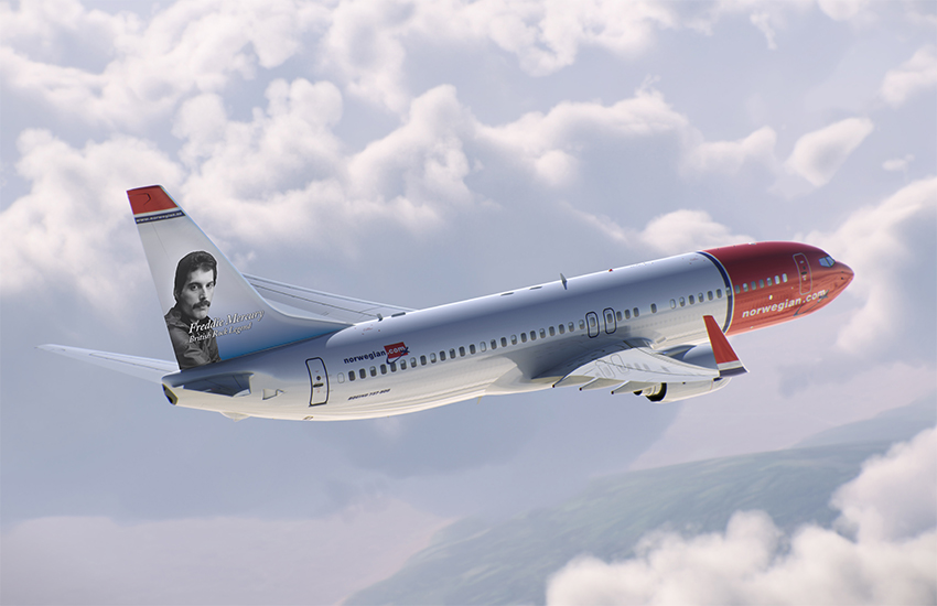 Freddie Mercury will feature on the tail fin of two new Norwegian planes