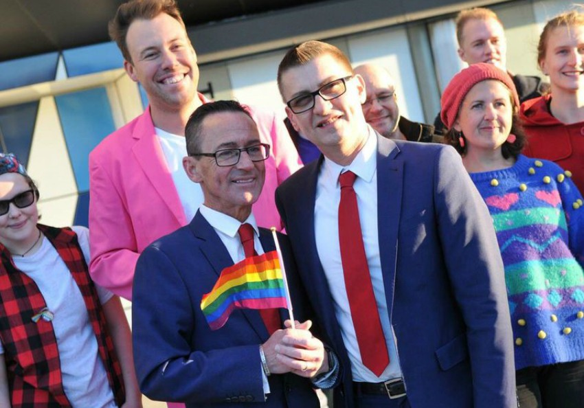 Ron and Antony staged an illegal wedding outside of Margaret Court Arena. Photo: Twitter/Michael Barnett
