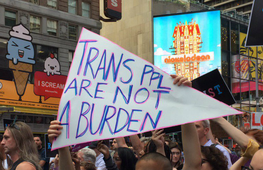 Americans protesting the trans ban in New York