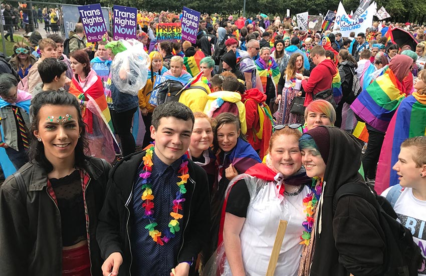 The crowd at Glasgow Pride 2017.