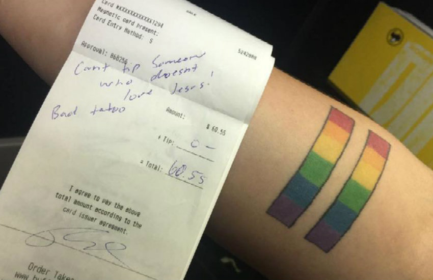 Samantha Heaton's tattoo, for which she received no tip at an Illinois restaurant