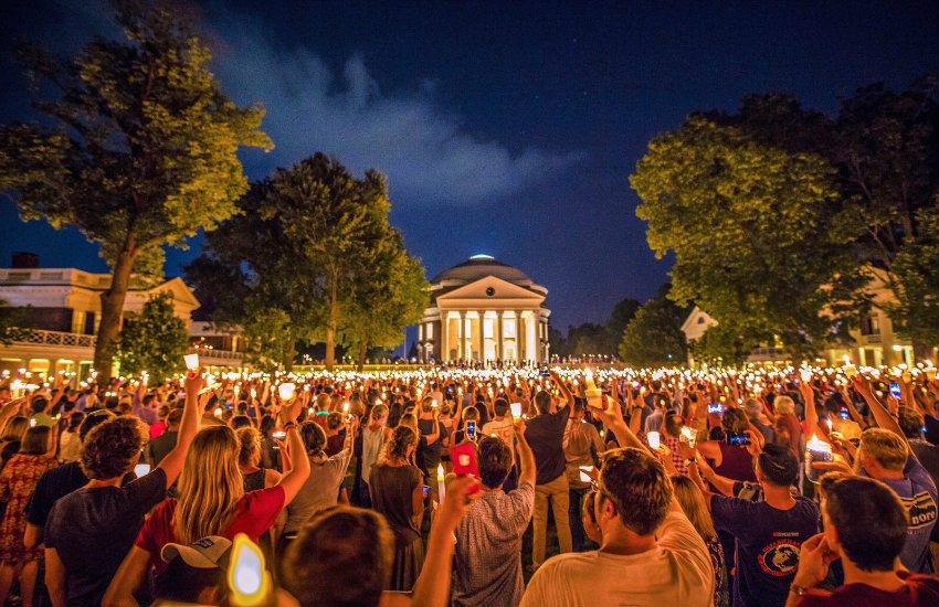A scene from the Charlottesville candlelight vigil at UVA
