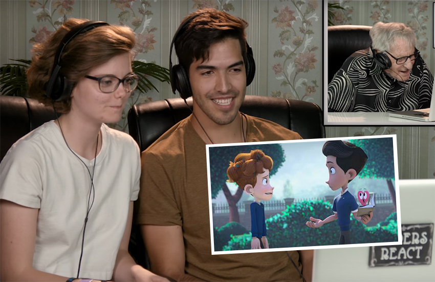 Beth David and Esteban Bravo watch elders react to In A Heartbeat
