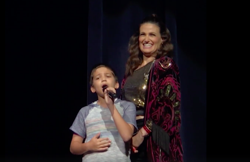 Idina Menzel is left shocked by the boys vocals