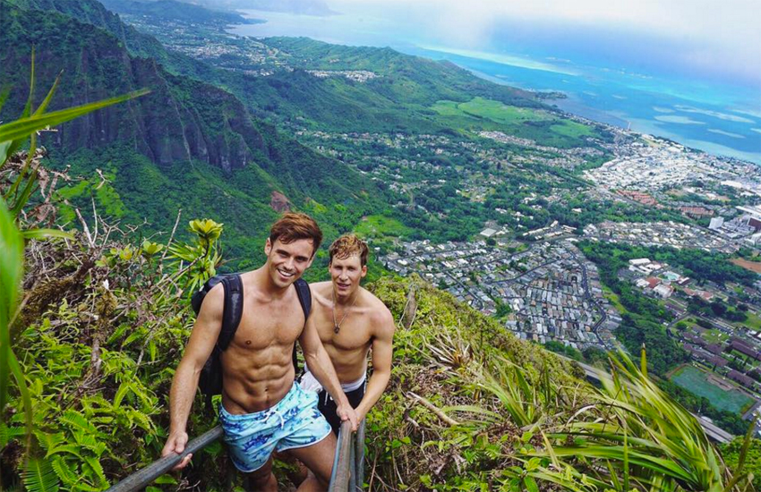 Tom Daley and Dustin Lance Black in Hawaii