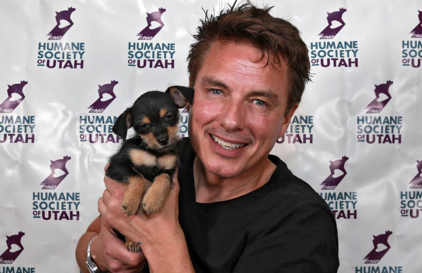 John Barrowman with his new puppy at SLCC