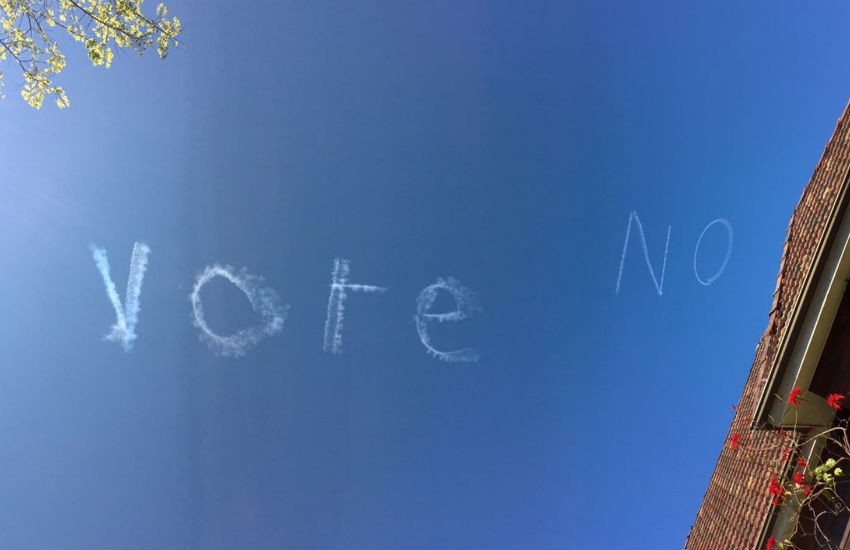Skywriting across Sydney urges people to vote no for marriage equality