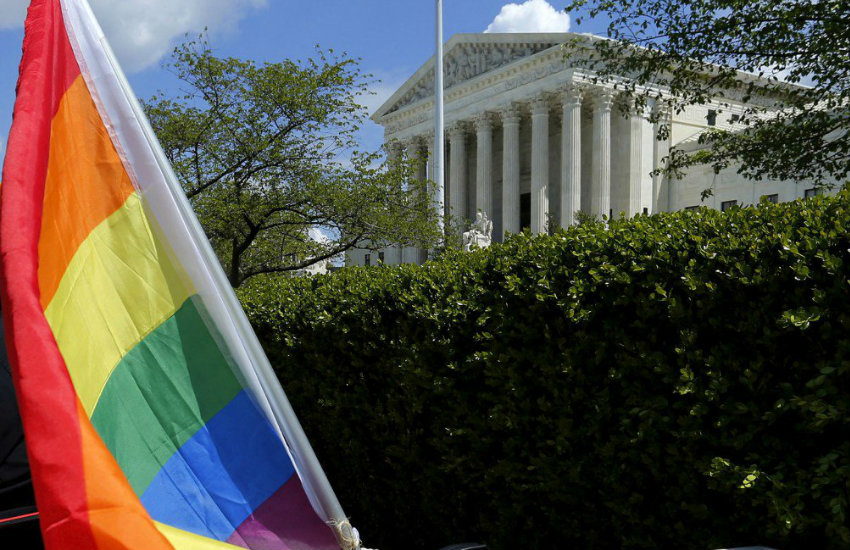 Rainbow flag outside US Supreme Court; Trump administration sides with bakery in case