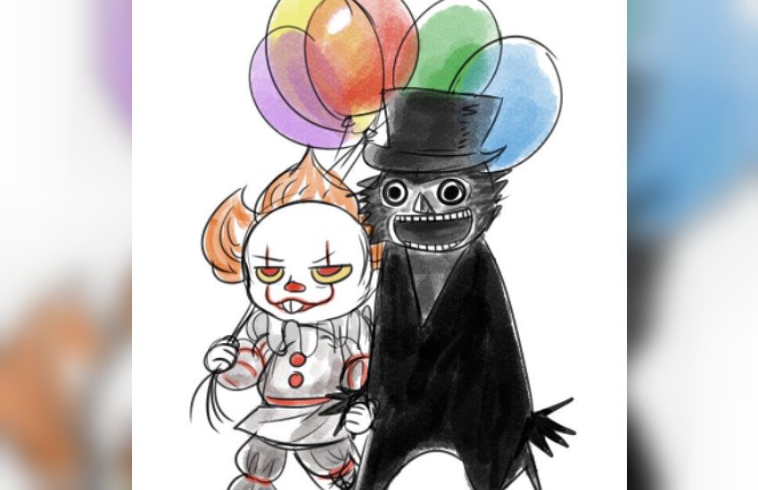 ' Pennywise and his boyfriend, The Babadook are off on a date to get crepes and terrorize some kids.'
