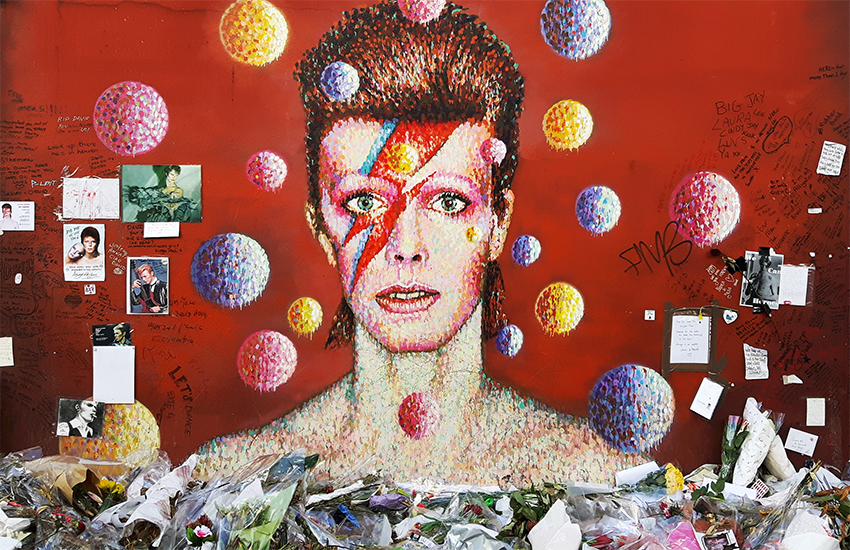 A mural celebrating David Bowie in Brixton, London, photographed by Darryl Bullock