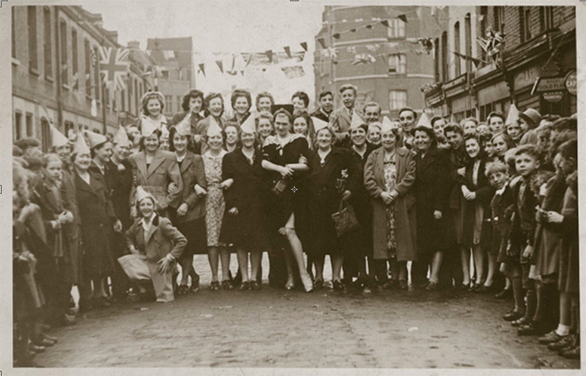 Diamond Lil at the center of the crowd on VE Day on Columbia Road.