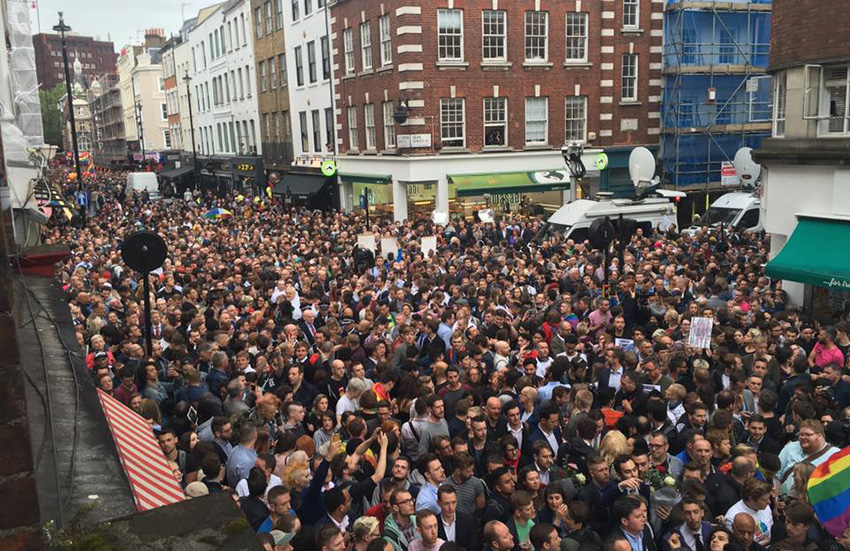 Crowds on Old Compton Street for the Orlando vigil.