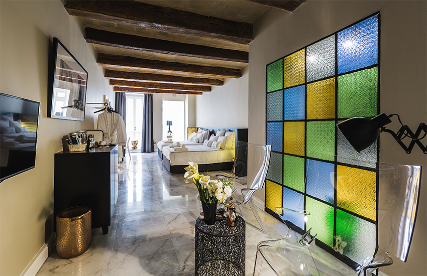 One of the eight bedrooms at SU29 in Valletta