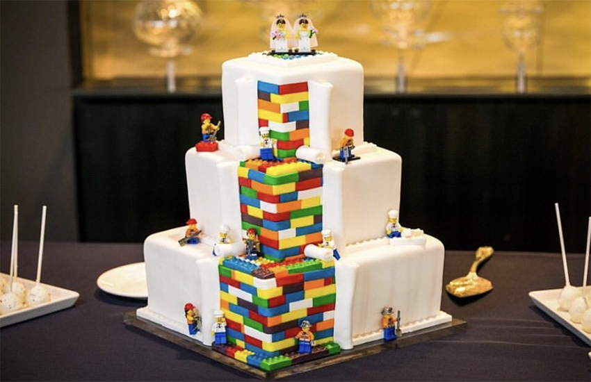 This Lego-inspired wedding cake was commissioned by two Brides who wanted to amuse their sons