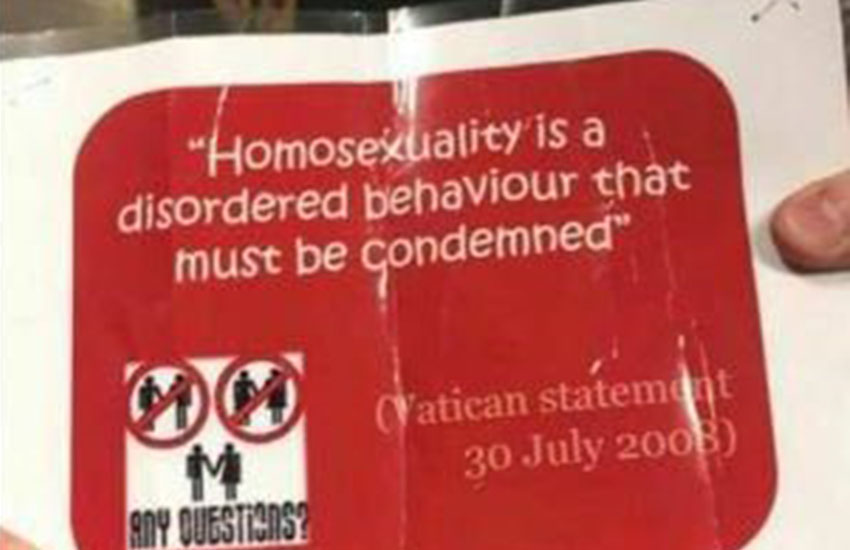 Catholic school put up poster calling homosexuality 'disordered'