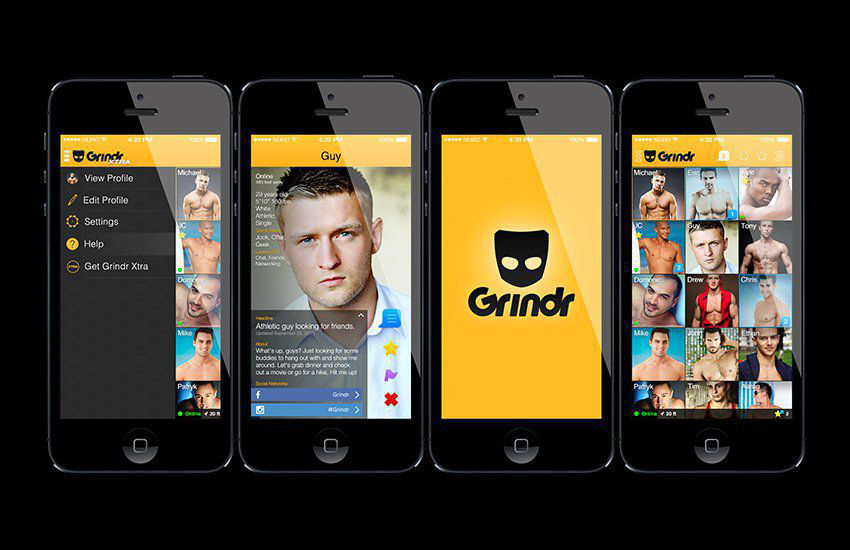 The Grindr icon and logo on smartphone screens