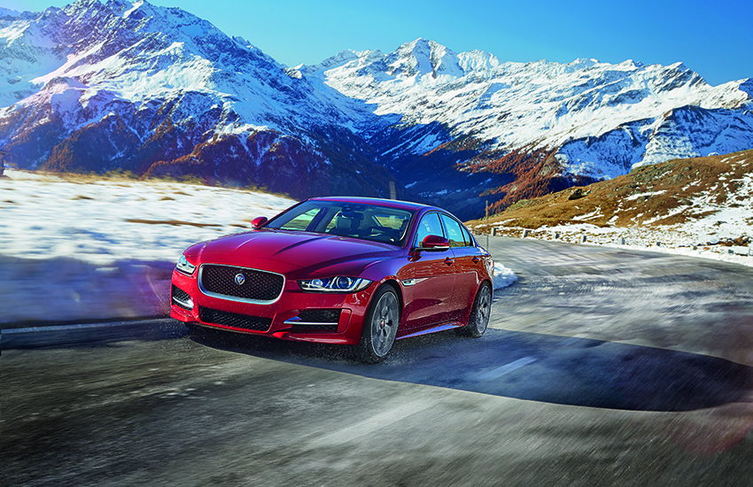 The Jaguar XE on a mountain road