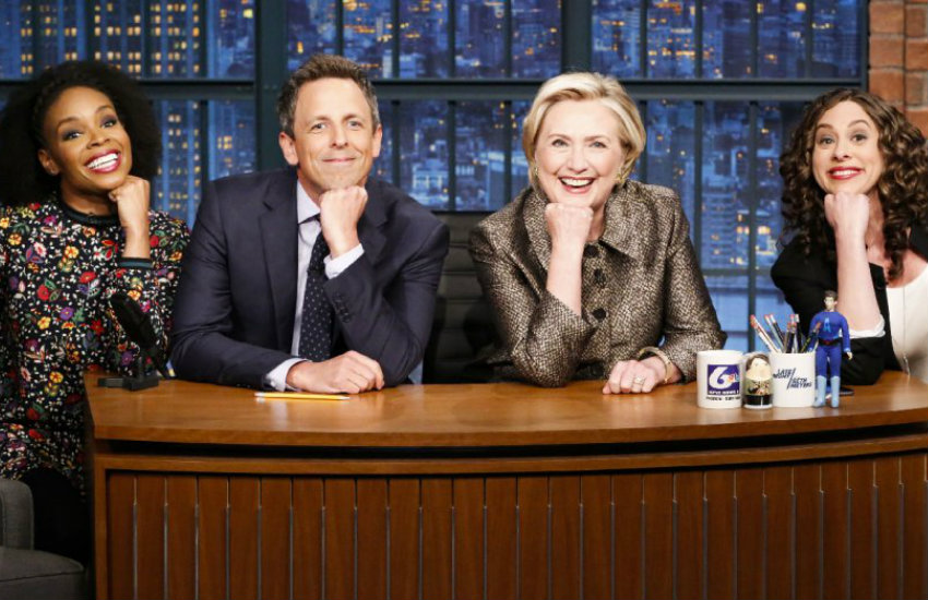 Seth Meyers joined by Hillary Clinton and writers Amber and Jenny