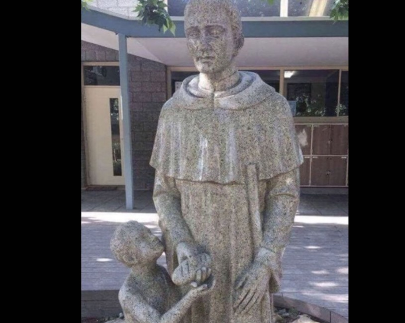 The offending statue at the Australian Catholic school.