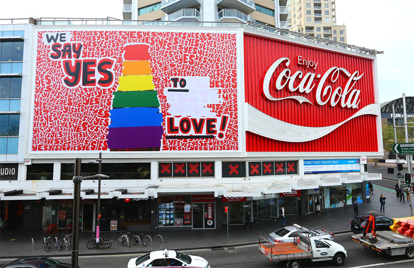 Coca Cola erected a giant billboard in Sydney in the run-up to the same-sex marriage vote (Coca Cola | Twitter)