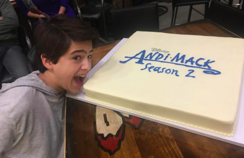 Andi Mack actor Joshua Rush celebrating the start of season two