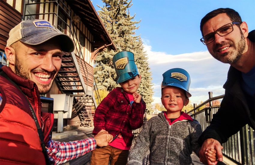 Rob, left, Chris, right and their two gorgeous sons!