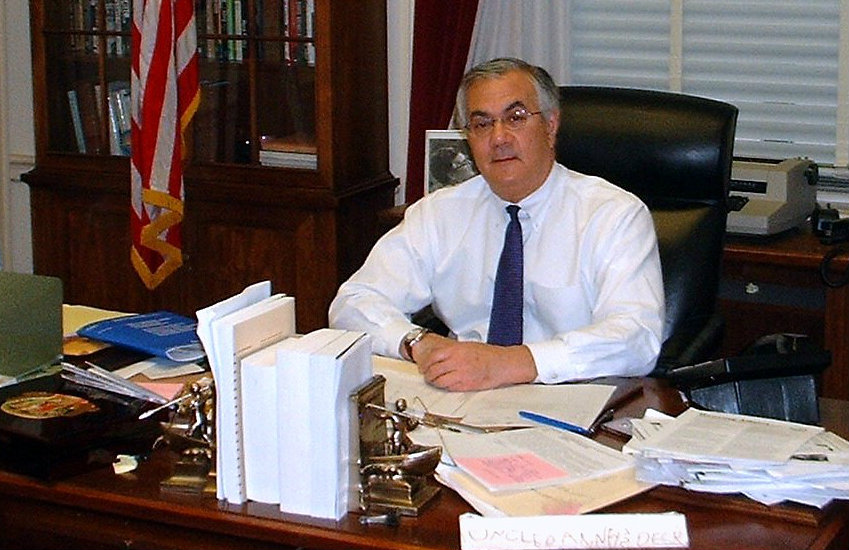 Barney Frank in his congressional office.