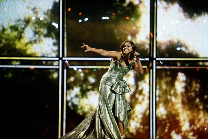 Jessica Mauboy performing at the 2014 Eurovision Song Contest in Denmark