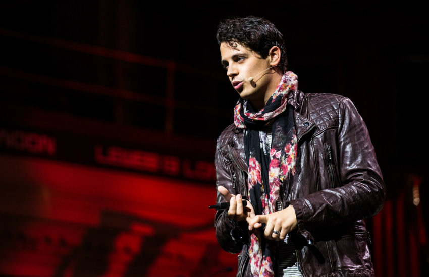 Milo Yiannopoulos at Central Hall Westminster.