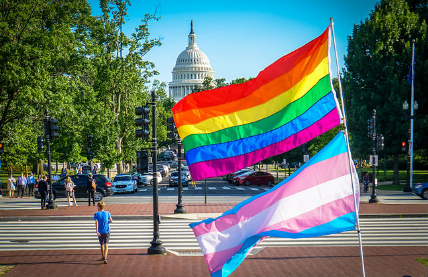 LGBTQ and trans flags in front of the US Capitol, which houses Congress