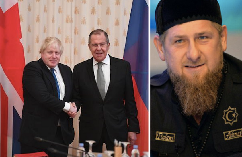 Photo: Left Boris Johnson and Sergey Lavrov, UK Foreign Office / Right Chechnya Leader, Chechnya Today