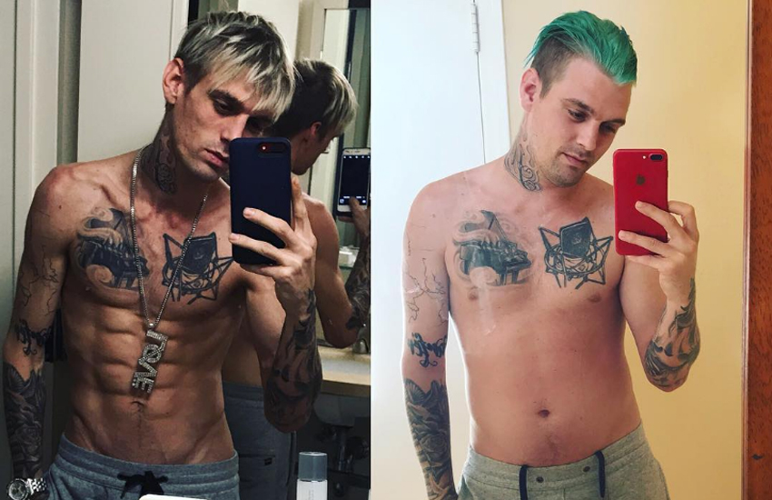 Before and after pictures of Aaron Carter's recent weight gain