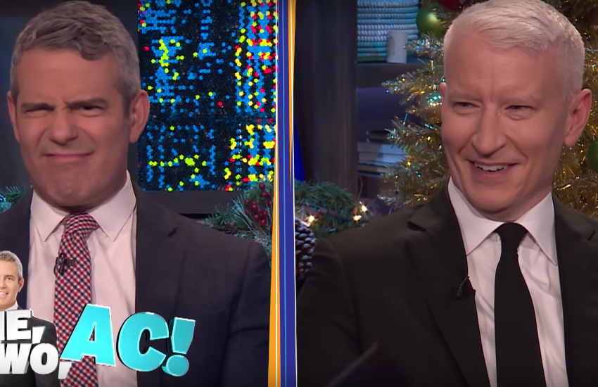 Andy Cohen and Anderson Cooper on WWHL.