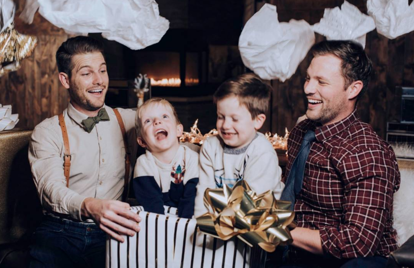 Devon and Rob (also known as Dads Not Daddies) and their sons open presents
