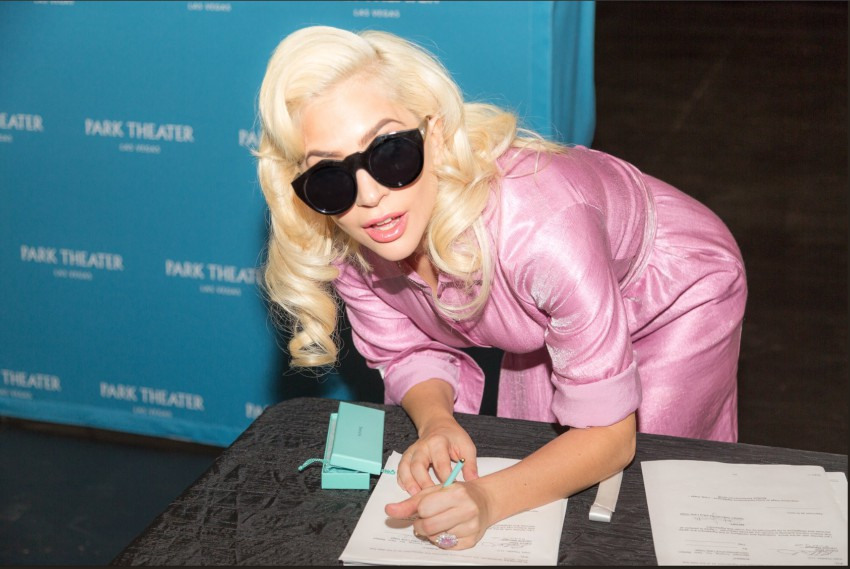 Lady Gaga signs the contract for her two year residency in Las Vegas
