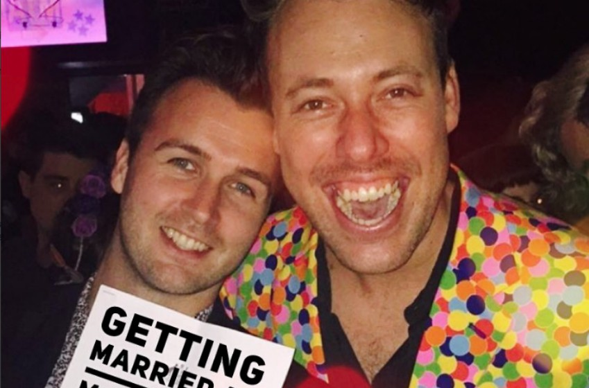 Stuart Henshall (L) and James 'Breko' Brechney holding intention to marry notice