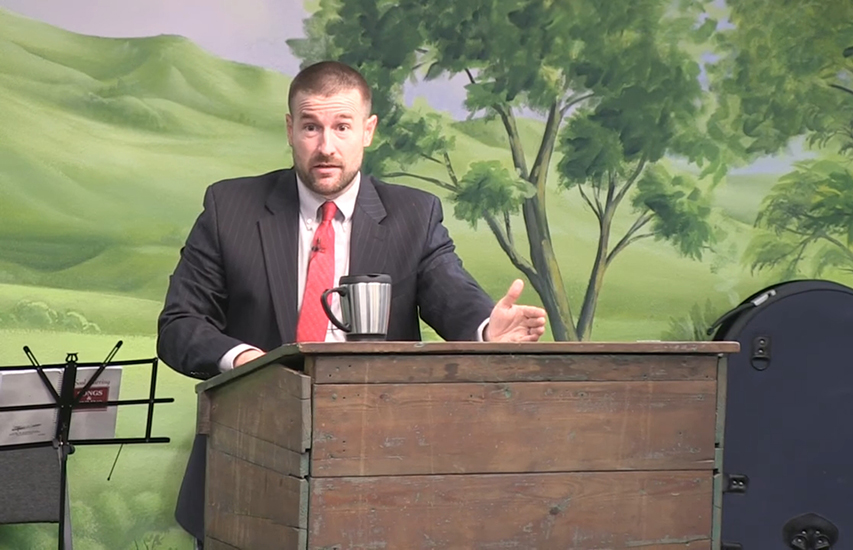 Steven Anderson preaching at his church in April 2017.