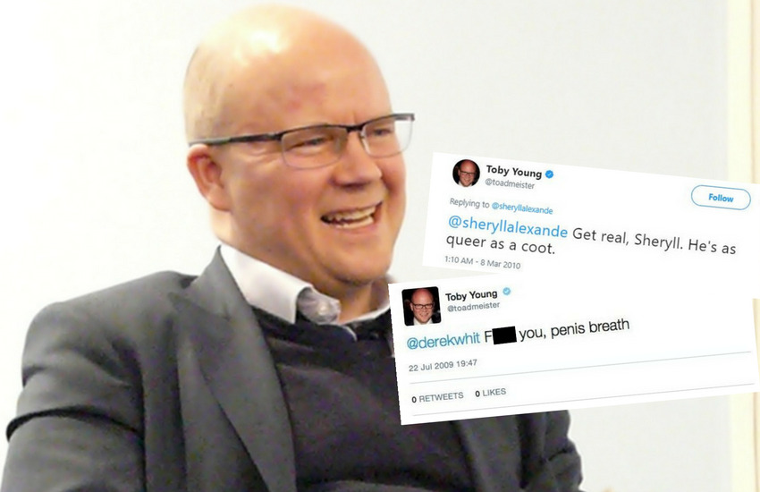 University office for student appointment Toby Young with some of his culled tweets displayed | Photo: Wikipedia/Twitter