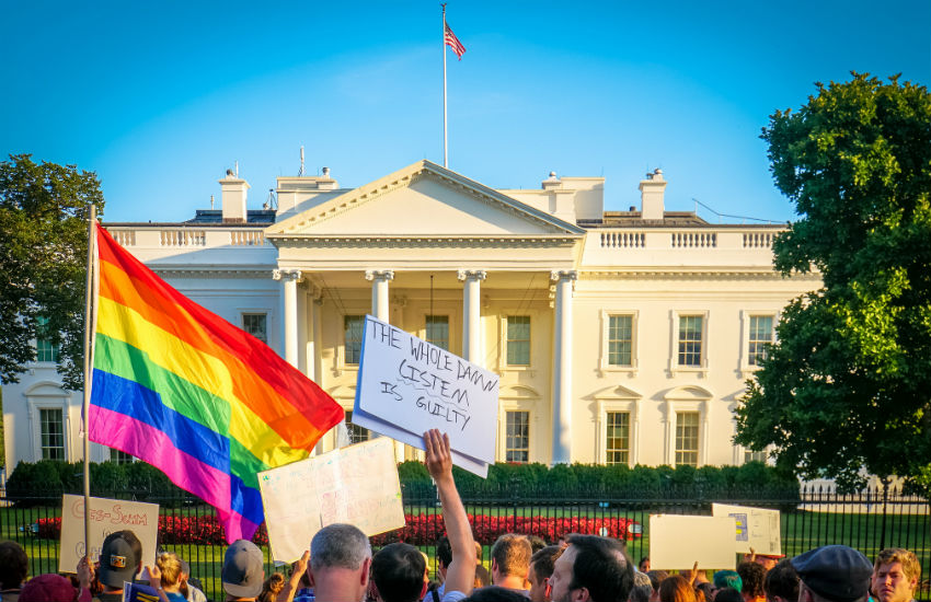 Protest against Trump's trans military ban appeals
