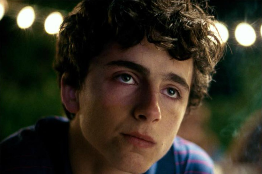 Close up of Timothée Chalamet's face in Call Me By Your Name