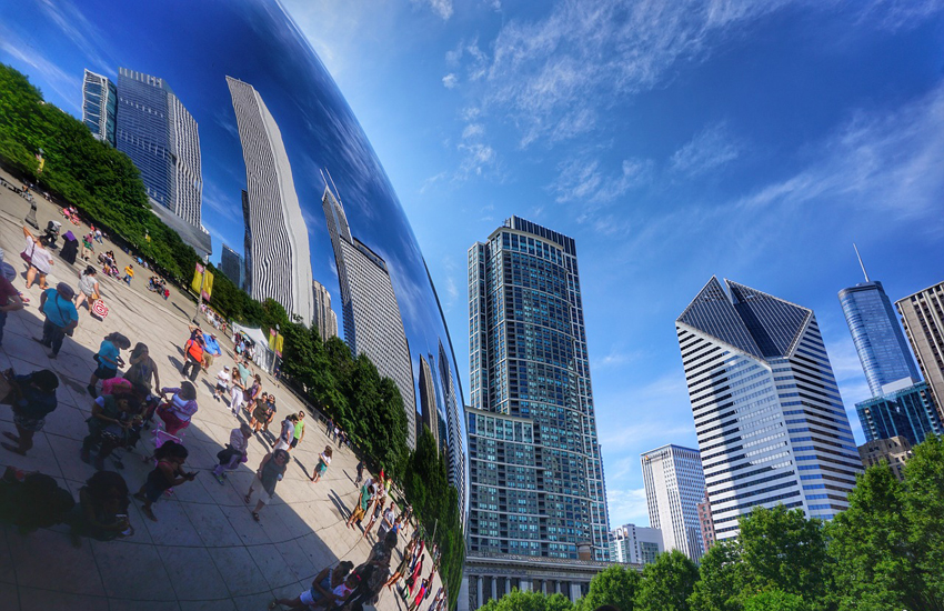 The Cloud Gate sculpture (or The Bean), an icon of Chicago and Illinois