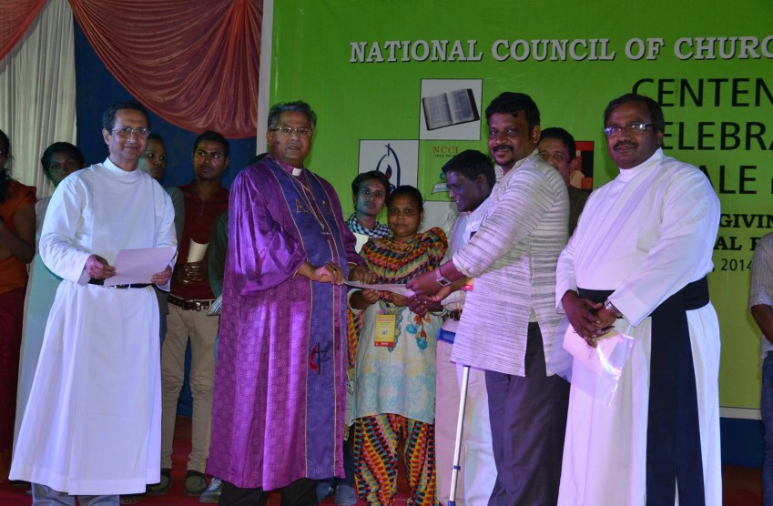 Christian leaders in India from different denominations standing on a stage