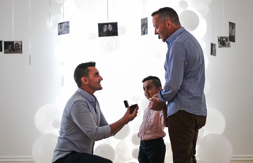 Jarrad proposes to Michael in front of son, Reid