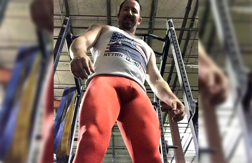 Jeffrey Scott shows off a pair of his own tights