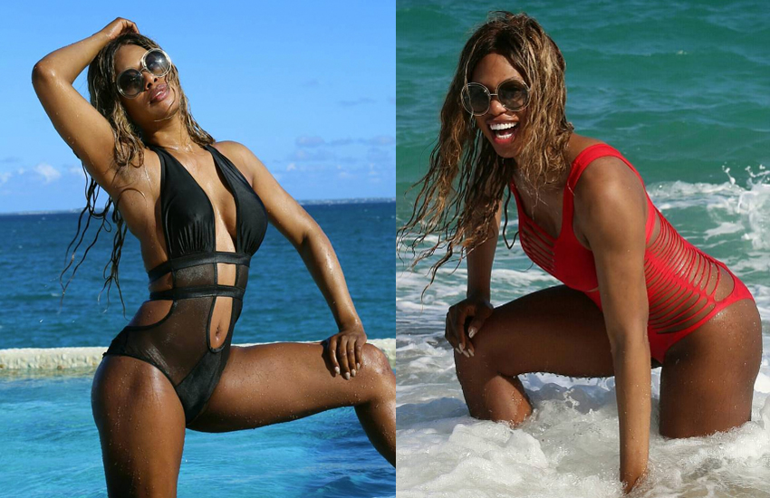 Laverne Cox on the beach, two pictures